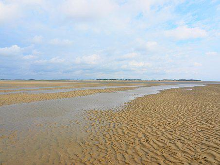 Priel, Watts, Wadden Sea, Shallow, Sand, Watt Hike