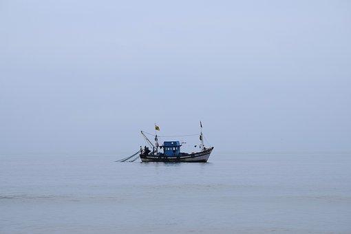 Sea, Boat, Fishing, Net, Ocean, Small