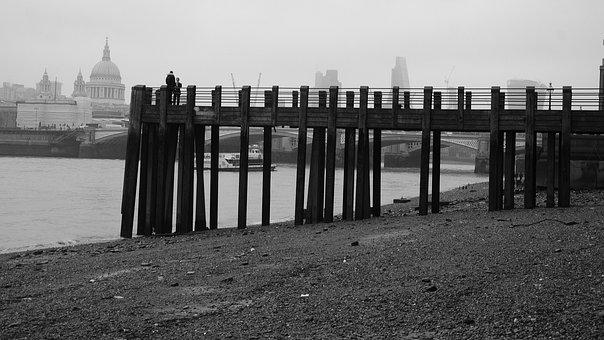 Beach, South Bank, London, Couple, People, Monochrome