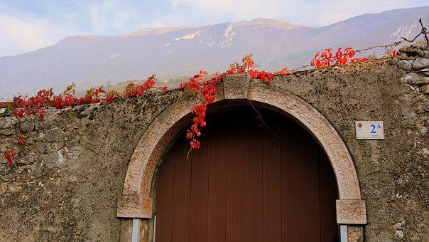 Autumn, Leaves, Door, Mountains, Wall, Number, Civico