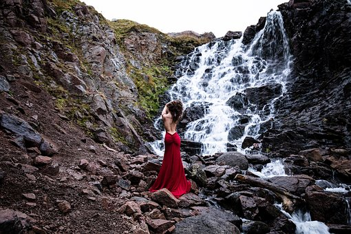 Waterfall, Water, Rock, Beauty, Girl, Landscape