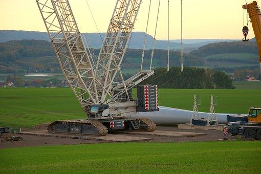 Wind Park, Site, Mega Crane, Evening Sun