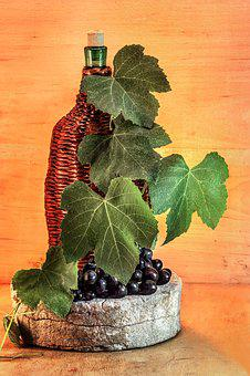 Wine, Braided Bottle, Grapes, A Bunch Of