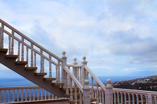 Stairs, Sky, Background, House, Blue, Steps, Stairway