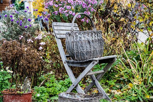 Folding Chair, Chair, Flowers, Weathered, Basket