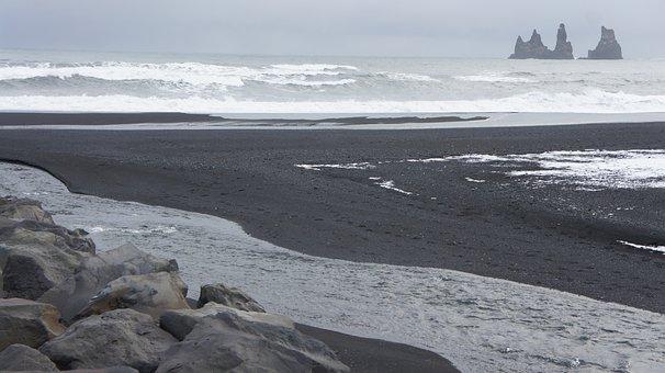 Iceland, Black Beach, Black Sand, Beach, Sand, Black