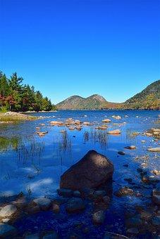 Lake, Shore, Rocks, Trees, Mountains, Water, Nature