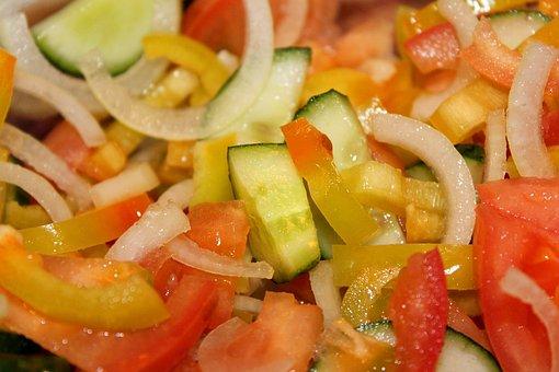 Salad, Vegetables, Chopped Vegetables, Cucumber