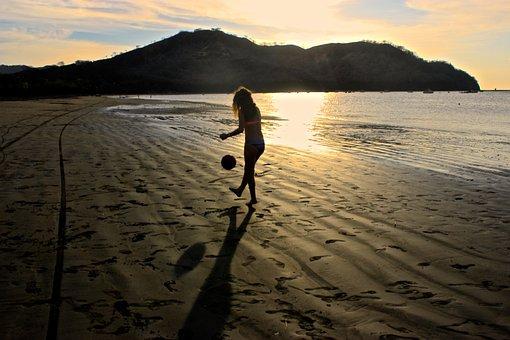 Girl, Soccer, Sunset, Beach, Ocean, Costa Rica