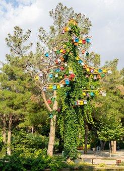 Bird Tree, Bird, Tree, Colorful, Artificial