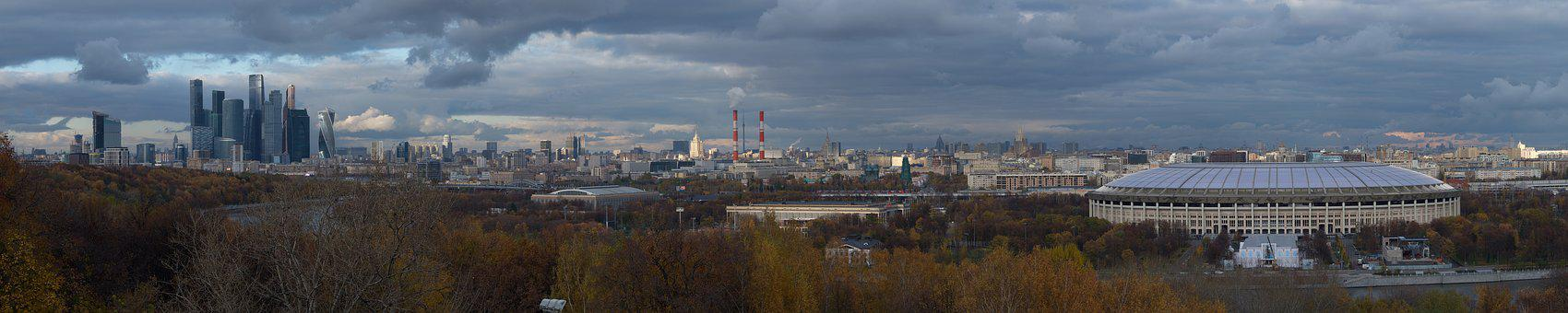 Moscow, Skyline, Panorama, Hills, Russia, City, Urban