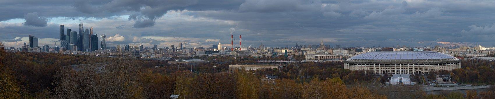 Moscow, Skyline, Panorama, Hills, Russia, City, Urban