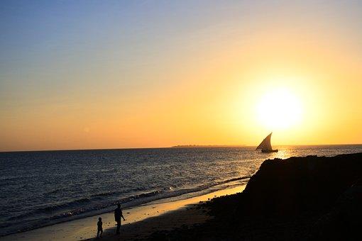 Sea, Zanzibar, Dhow, Boat, Beach, Sunset, Water