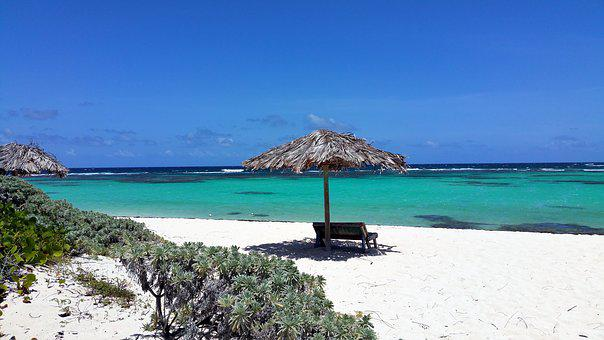 Beach, Sea, Water, Caribbean, Bank, Parasol, Recovery