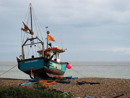 Boat, Fishing, Beach, Shingle, Shore, Horizon