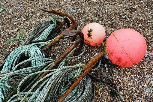 Anchor, Warp, Rope, Buoy, Beach, Shingle, Mooring