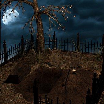 Halloween, Grave, Cemetery, Coffin, Moon, Night
