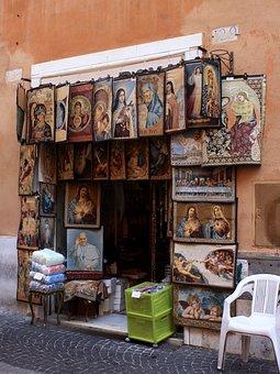 Italy, Rome, Street Trading, Wall, Deco, Decoration