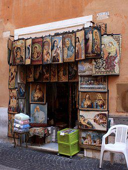 Italy, Rome, Street Trading, Wall, Deco, Decoration