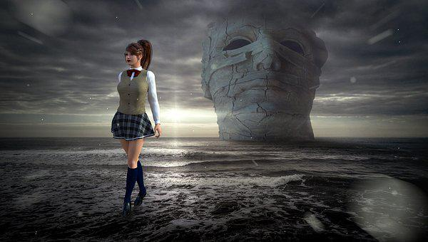 Fantasy, Sea, Mystical, Woman, Sculpture, Clouds