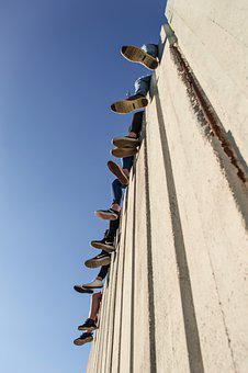 Leg, Foot, Sky, Blue, Wall, Concrete, Lifestyle, Young