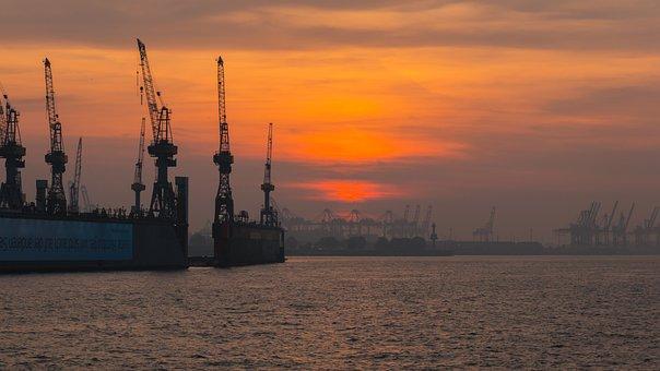 Port, Hamburg, Evening, Hanseatic, Hamburg Port, Elbe