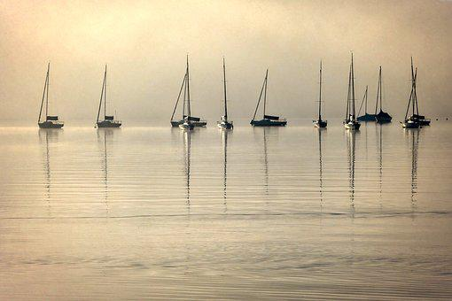 Chiemsee, Boats, Fog, Lake, Landscape, Water, Holiday