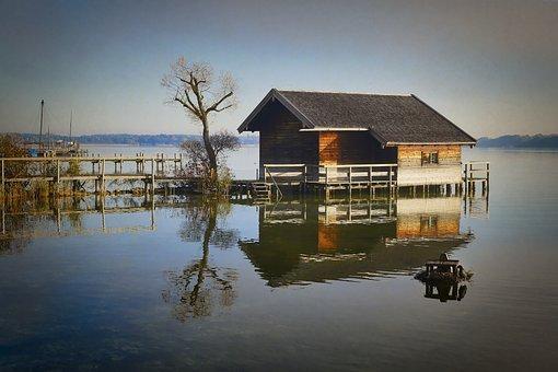 Chiemsee, Web, Lake, Water, Landscape, Pier, Jetty