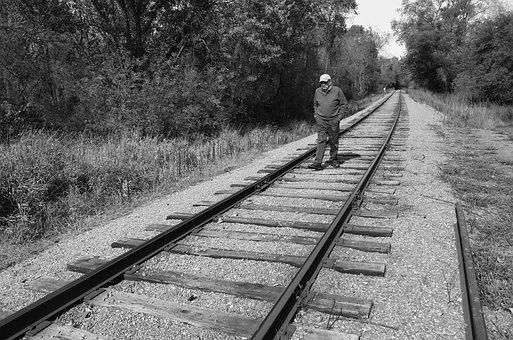 Man, Walking, Railroad, Tracks, Lonely, Person, Walk