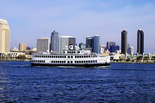 San Diego Skyline, Ocean, Boats, California, Water