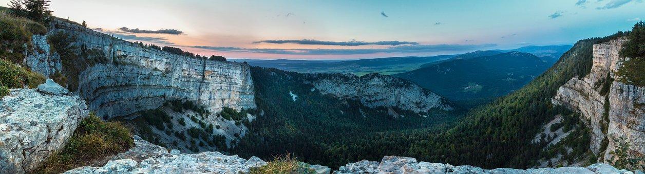Creux Du Van, Panorama, Colored Rock, Rock Boiler, Wide