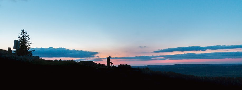 Silhouette, Photographer, Nature, Wide Format, Sunset