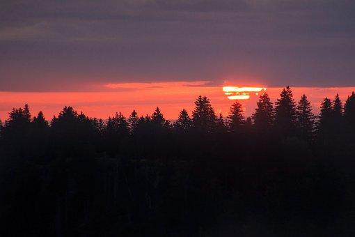 Red Sun, Large Sun, Sunrise, Silhouettes, Nordic