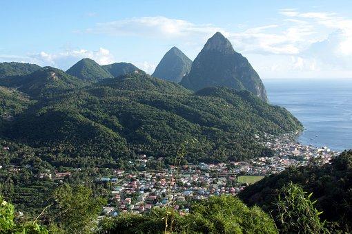 Caribbean, Mountains, Vul, St Lucia, Nature, Sea