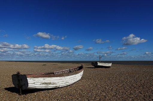 Boat, Beach, Shingle, Shore, Fishing, Old, Abandoned