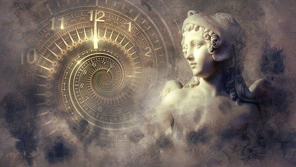 Fantasy, Clock, Statue, Light, Spiral, Angel, Mystical