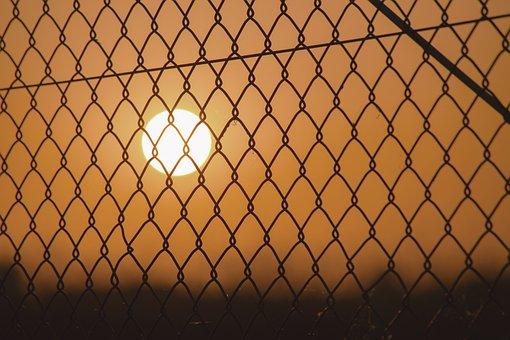 Sunset, Fence, Grid, Caught, Sun, Day, Evening