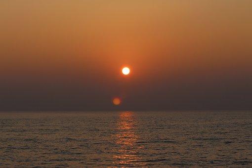 Sunset, Sunrise, Sun On The Sea, Nature, Landscape