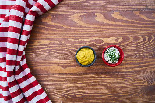 Sauce, Mustard, Mayonnaise, Food, Table, Cover, Red