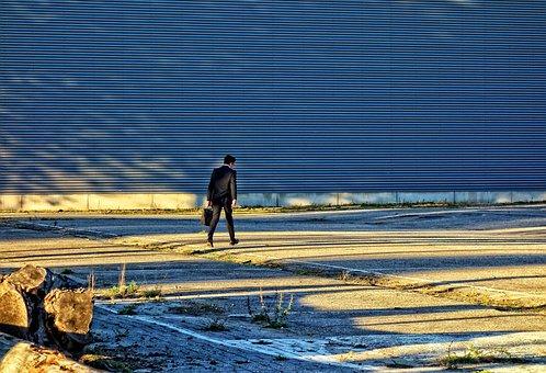 Person, Man, Alone, White Collar, Walking, Parking Lot