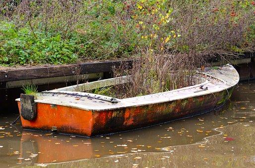 Overgrown, Abandoned, Boat, Plant, Sink, Worn, Broken