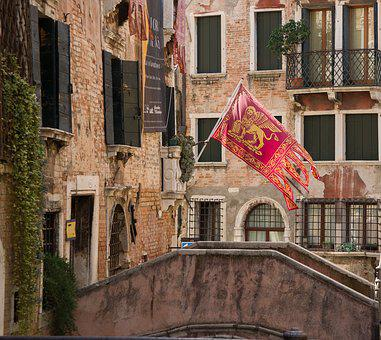 Venice, Bridge, Coat Of Arms, Channel, Italy, Water