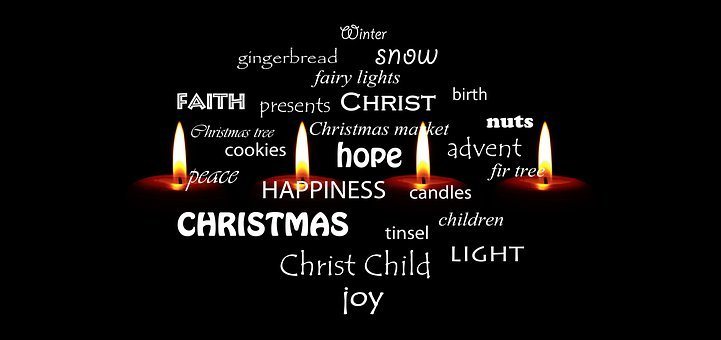 Candles, Christmas, Advent, Light, Burn, Words, Joy