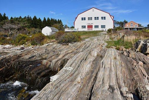 Landscapes, Scenery, Coast, Ocean, Maine, House, Rocky