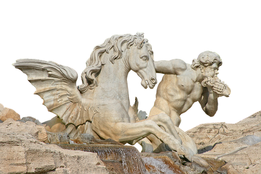 Fountain, Marble, White, Horse, Architecture, Monument