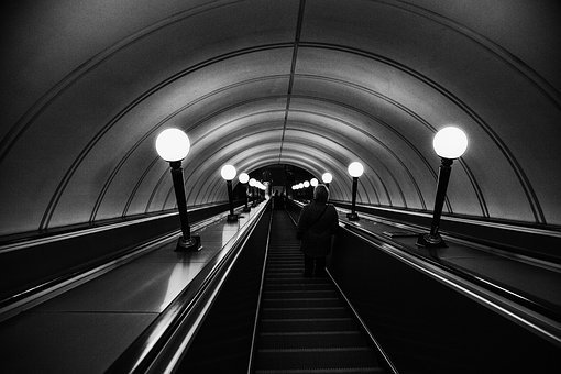 Metro, Moscow, Red Gate, Escalator, Subway