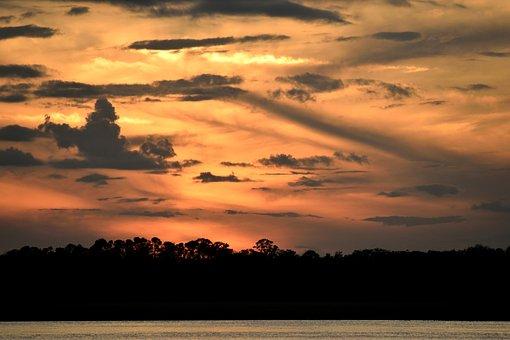 Sunset Sky, Sky, Sunset, Majestic, Silhouette, Sun
