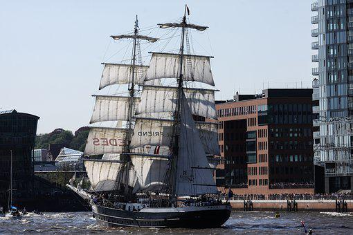 Sailing Vessel, Water, Square Sails, Shipping, Maritime
