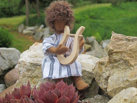 David, Fig, Harp, Stones, Plant, Meadow