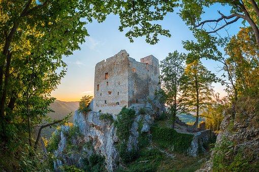 Burgruine, Castle, Ruin, Substantiate, Masonry, Sunset